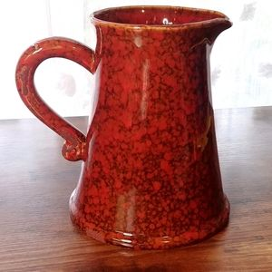 Ceramic / Pottery Pitcher - Red Brown Distressing
